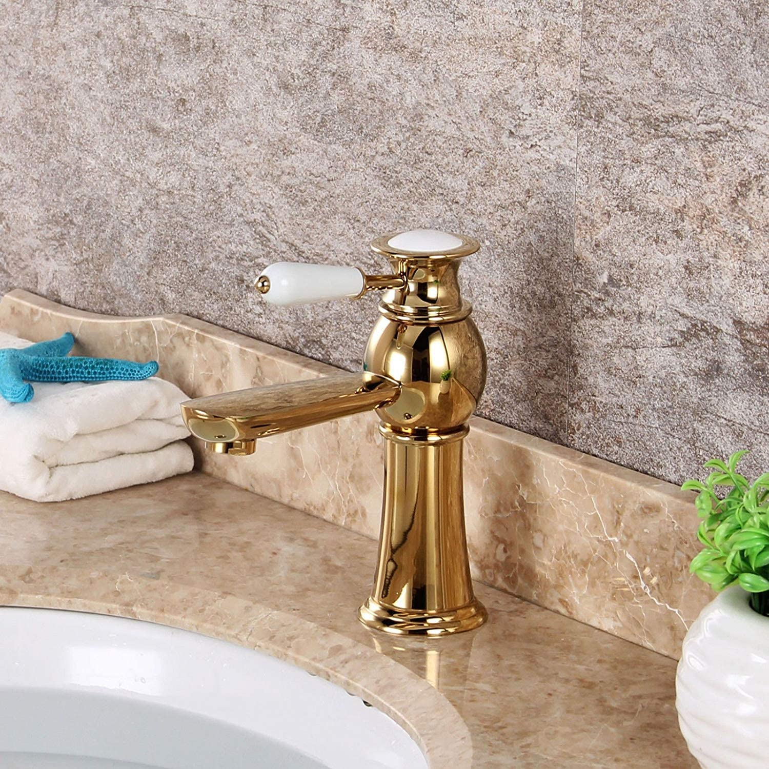 FERZA home Sink Mixer Tap Bathroom Kitchen Basin Tap Leakproof Save Water Full Kitchen With Copper gold Plated Hot And Cold Single Mix