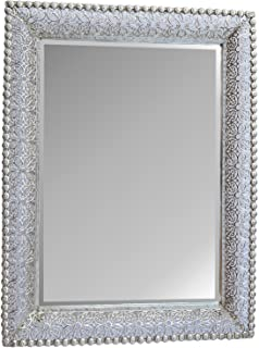 Lulu Decor, Lacy Silver Metal Beveled Wall Mirror Frame size 30