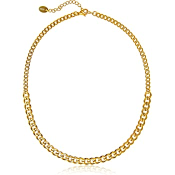 Streetwear Necklace | 14k Gold Chain Choker Necklace for Women | Dual Sized 14k Gold Dipped Curb Cuban Link Chain Necklace | Edgy, Classic Stainless Steel Chain | Small Cuban Chain Necklaces for Women