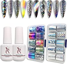 SXC G-17 Nail Art Foil Kit Glue Gel with Foil Stickers Set Nail Transfer Tips Manicure Art DIY 2X 15ML, 20PCS Stickers, UV LED Lamp Required(Holo Series)