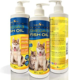 TerraMax Pro Premium Liquid Omega-3 Fish Oil for Dogs and Cats - All-Natural Human Grade Food Supplement - Wild Caught fro...