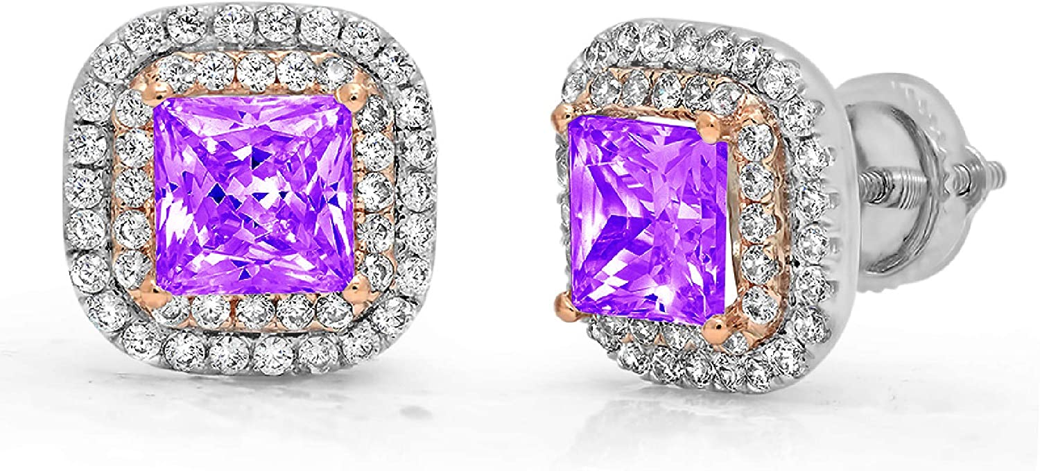 Clara Pucci 2.52 ct Brilliant Princess Round Cut Double Halo Solitaire VVS1 Fine Natural Purple Amethyst Gemstone Pair of Solitaire Stud Screw Back Earrings Gemstone18K 2 tone Gold
