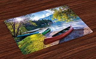 Ambesonne Landscape Place Mats Set of 4, Bohinj Lake with Boats Canoes Triglav National Park Julian Alps Slovenia Print, Washable Fabric Placemats for Dining Room Kitchen Table Decor, Multicolor
