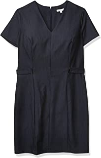 Sandra Darren Women's 1 Pc Short Sleeve V-Neck Denim Sheath Dress