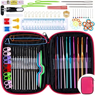 Aiguilles à Crochet,AnkerMazon Ensemble d'accessoires à tricoter avec crochets en aluminium (100 pièces) et étui en cuir T...