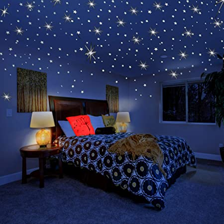 Amazon Com Glow In The Dark Stars For Ceiling Wall Stickers For Bedroom Living Room Wall Decals For Kids Boys And Girls 201pcs Home Improvement