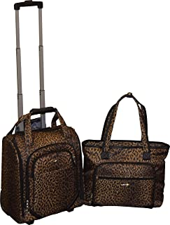 16 Inch Wheeled Underseater Carry-On & Laptop Tote Set (Leopard)