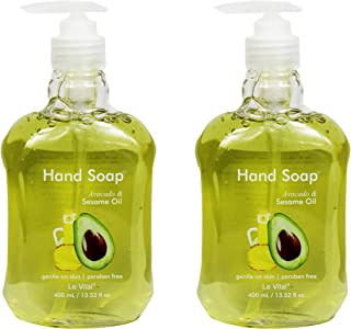 Set of 2 Le Vital Hand Soaps - Avocado & Sesame Oil - 13.52 Fluid Ounces (2 Bottles of Hand Soap)