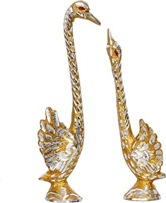 eCraftIndia Dancing Cute Love Birds 9 Inch Decorative Figurine Showpiece, Golden and Silver, one Size (ASWAN510_Big)