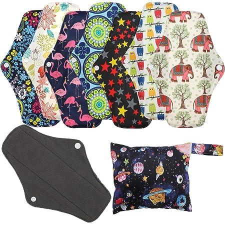 Serviettes hygiéniques réutilisables (7 en 1, 25,4cm), Protège-slips en bambou antibactérien avec sac de rangement, Tissu lavable Heavy Flow Night Serviettes hygiéniques menstruelles