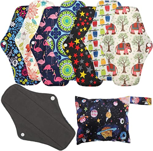 Serviettes hygiéniques réutilisables (7 en 1, 25,4cm), Protège-slips en bambou antibactérien avec sac de rangement, T...