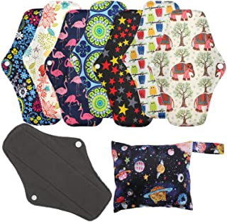 Reusable Menstrual Pads (7 in 1, 10in*7in), PHOGARY Bamboo Cloth Pads for Heavy Flow with Wet Bag, Large Sanitary Pads Set...