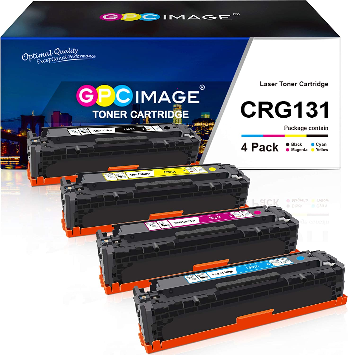 GPC Image Remanufactured Toner Cartridge Replacement for Canon 131 131H Toner to use with ImageClass MF8280Cw LBP7110Cw MF628Cw MF624Cw MF8230Cn Printer Tray (Black, Cyan, Magenta, Yellow, 4 Pack)