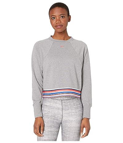 Nike Dry Get Fit Fleece Crew Stripe SP (Carbon Heather/Track Red) Women