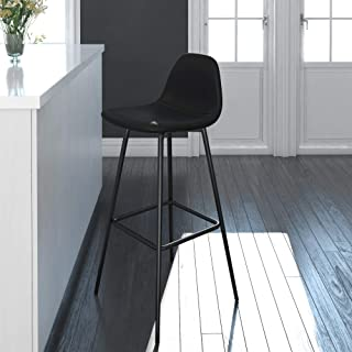 DHP Casi Upholstered Bar, Black Faux Leather Counter Stool