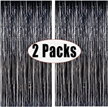 FECEDY 2pcs 3ft x 8ft Black Metallic Tinsel Foil Fringe Curtains Photo Booth Props for Birthday Wedding Engagement Bridal Shower Baby Shower Bachelorette Holiday Celebration Party Decorations