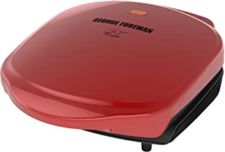 George Foreman 2-Serving Classic Plate Electric Indoor Grill and Panini Press, Red, GR10RM,5.6 x 10 x 9.2""