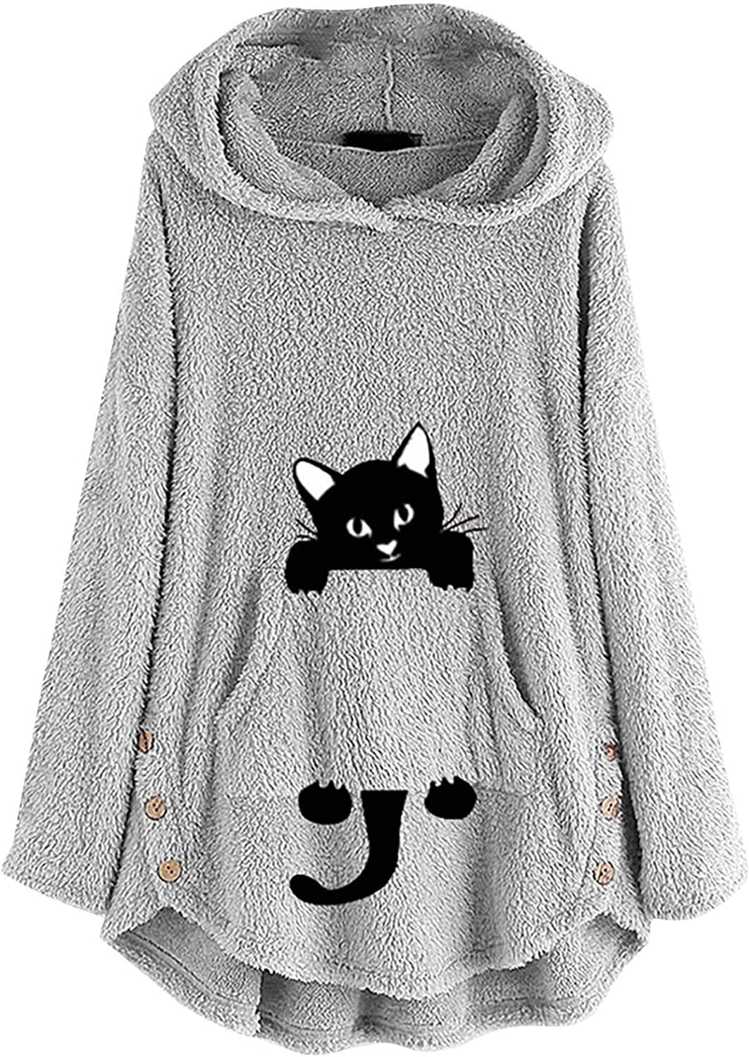 Fastbot women's Cute Hoodies Cat Printed Sweater Pullover Long Sleeve Cashmere Sweater Fuzzy Fluffy Tops