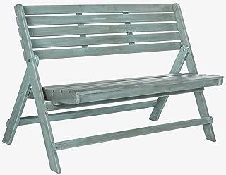 Safavieh Outdoor Collection Luca Beach House Blue Folding Bench