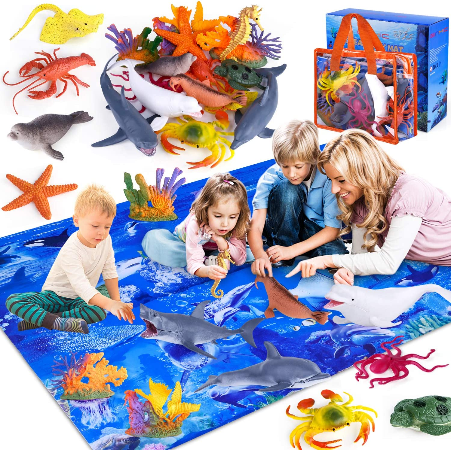 Today's only GINMIC Kids Ocean Animals Toys [Alternative dealer] with Pack Play Mat 18 Ass Large