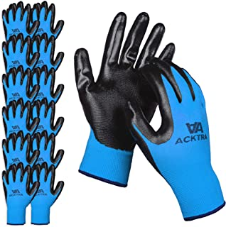 ACKTRA Nitrile Coated Nylon Safety WORK GLOVES 12 Pairs, Knit Wrist Cuff, Multipurpose, for Men & Women, WG003 Blue Polyester, Black Nitrile, Small