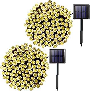 JMEXSUSS 2 Pack Solar String Light 200LED 75.5ft 8 Modes Solar Christmas Lights Waterproof for Gardens, Wedding, Party,Val...