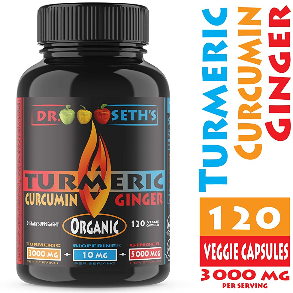 Organic Turmeric Curcumin w/Ginger & Bioperine 3000mg ~ Highest Potency Available. Joint Pain Relief - Anti-Inflammatory, Antioxidant, Joint Support w/ 95% Standardized Curcuminoids Non GMO USA