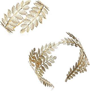 Finrezio Juego de 2 pulseras para el brazo de la diosa griega, con diseño de hoja de laurel romana y corona, brazo superio...