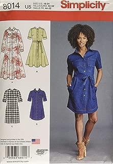 Simplicity 8014 Women's Shirt Dress Sewing Patterns, Sizes 16-24
