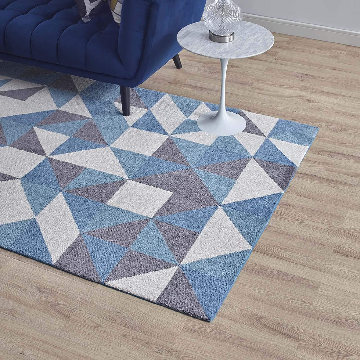 Modway Kahula Geometric Triangle Mosaic 5x8 Area Rug Blue White And Gray Amazon Ca Home Kitchen