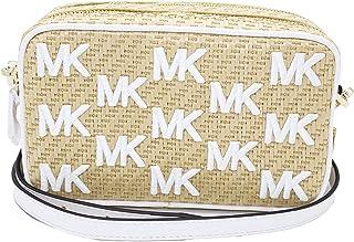 Michael Kors Kenly 35T0GWQC1W Kleiner Kamerastrohhalm Python-Kapsel Optik Weißgold Hardware Damen Crossbody
