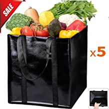 Reusable Grocery Shopping Tote Bags[5Pack] Black Waterproof Shopping Bag with Bottom Cardboard Support,Shiny Coating Surface Eco-friendly Tote Store Bags with Durable Reinforced Polyester Handles