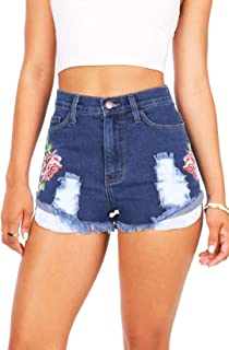 Vibrant Women's Juniors High Waisted Rose Embroidered Shorts