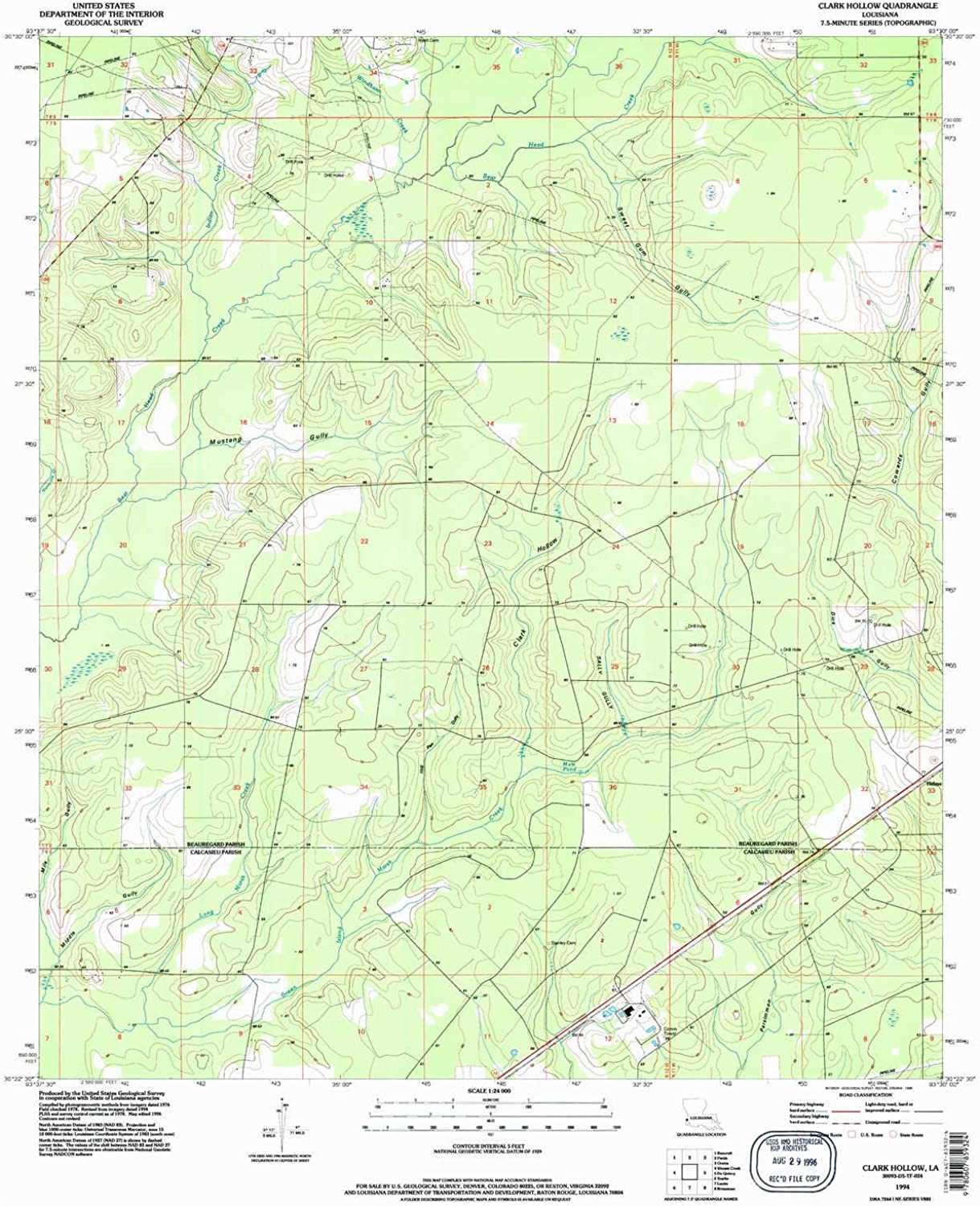 Clark Hollow LA topo map, 1 24000 Scale, 7.5 X 7.5 Minute, Historical, 1994, Updated 1996, 26.9 x 22 in