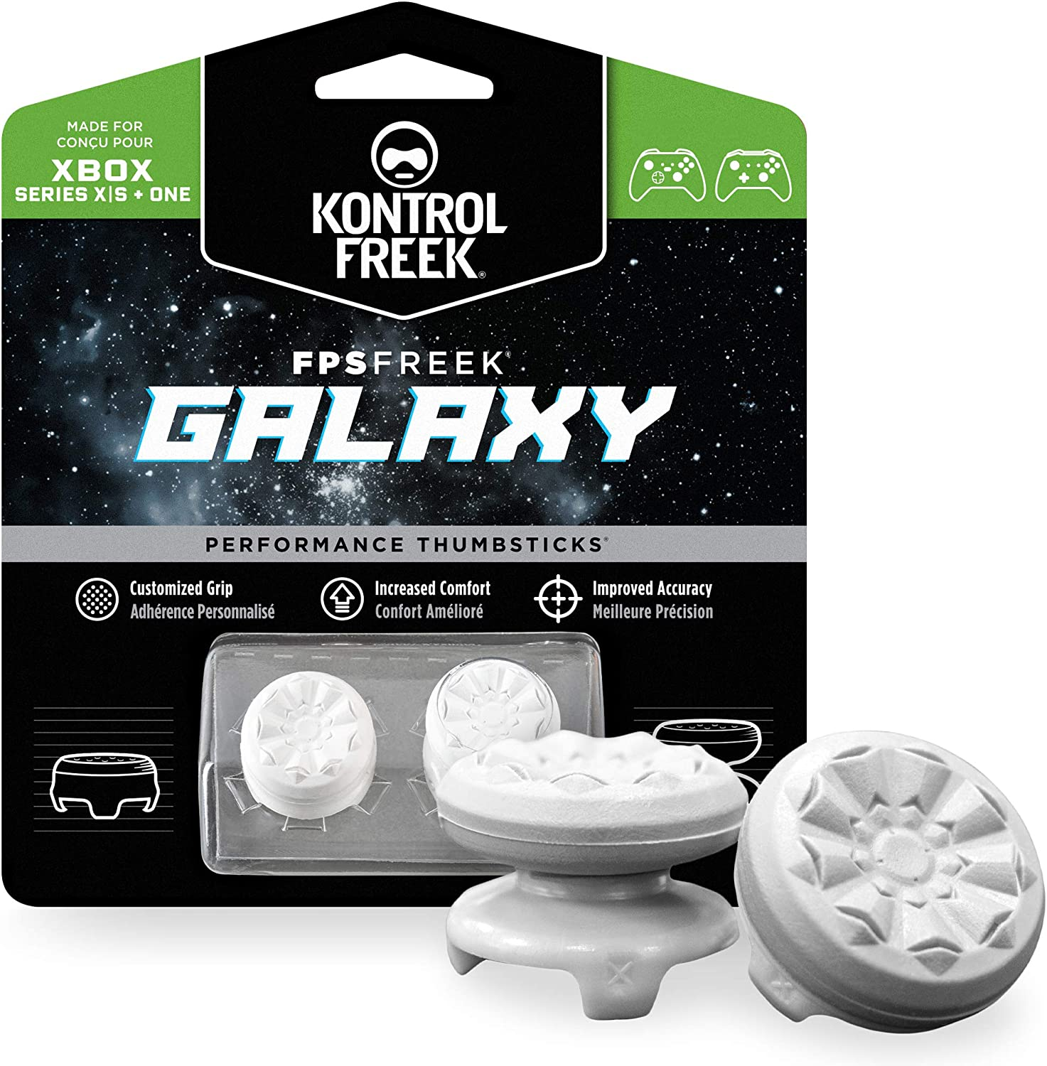 KontrolFreek FPS Freek Galaxy White for Xbox One and Xbox Series X Controller | Performance Thumbsticks | 1 High-Rise, 1 Mid-Rise | White