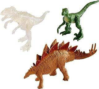 Jurassic World Mini Stegosaurus, Velociraptor, & Transparent Indominus Figures, 3 Pack
