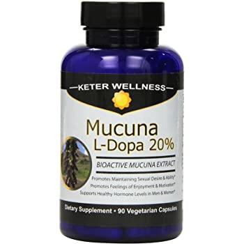 Mucuna L-Dopa 20% | Made in USA | Pure Mucuna pruriens Extract | 90 Vegetarian Capsules | High L-Dopa Levels