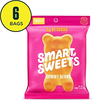 SmartSweets Low Sugar Gummy Bears Candy Fruity 1.8 Oz Bags (Box Of 6), Free of Sugar Alcohols & No Artificial Sweeteners Sweetened With Stevia, Natural Fruit Flavors