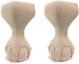 Highland Manor Wood Products Set of 2 Ball and Claw Couch Foot - 6