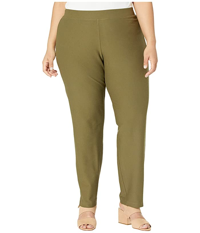 Eileen Fisher  Plus Size Washable Stretch Crepe Slim Ankle Pants (Olive) Womens Casual Pants
