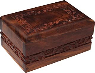 Bogati Hand Carved Rosewood Urn with Border Design (Small)