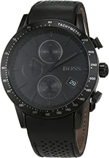 Hugo Boss Men's Black Dial Leather Band Watch - 1513456