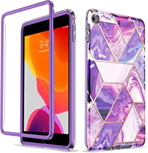 GOLINK Case for iPad Mini 4/ Mini 5, Bling Holographic Chrome Marble Full Body Combo Hybrid Heavy Duty Shell for 7.9