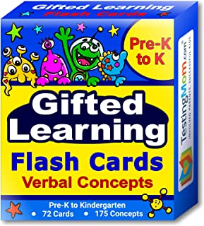Gifted Learning Flash Cards – Verbal Concepts and Vocabulary for Pre-K – Kindergarten – Learning Toys for CogAT Test, OLSAT, Iowa Test, NYC Gifted and Talented, ERB, WISC, WPPSI