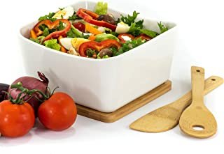 WHITE CERAMIC SQUARE SALAD serving bowl with bamboo serving spoons and bamboo trivet - Elegant 4 piece set serving bowl for salad, casserole, fruit salad, desserts and pasta. Beautiful on any table