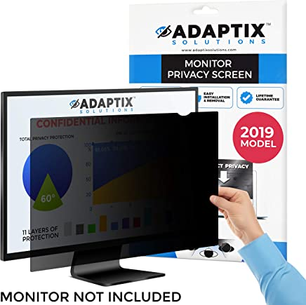 "Monitor Privacy Screen 24"" – Info Protection for Desktop Computer Security – Anti-Glare, Anti-Scratch, Blocks 96% UV – Matte or Gloss Finish Privacy Filter Protector – 16:9 by Adaptix (APS24.0W9)"