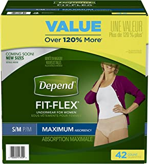 Depend FIT-FLEX Incontinence Underwear for Women, Maximum Absorbency, S/M, 42 Count