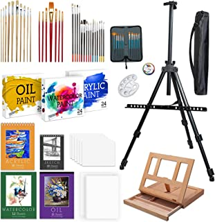 Jumbl Deluxe Painting Kit | 131-Piece Professional Art Set w/ 72 Oil, Acrylic & Watercolor Paints, Color Wheel & Palette, Wooden Desk & Standing Field Easels, 8 Canvases, 4 Sketch Books & 4 Brush Sets
