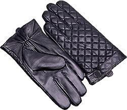 YISEVEN Men's Winter Genuine Sheepskin Touchscreen Leather Gloves Lattice Style