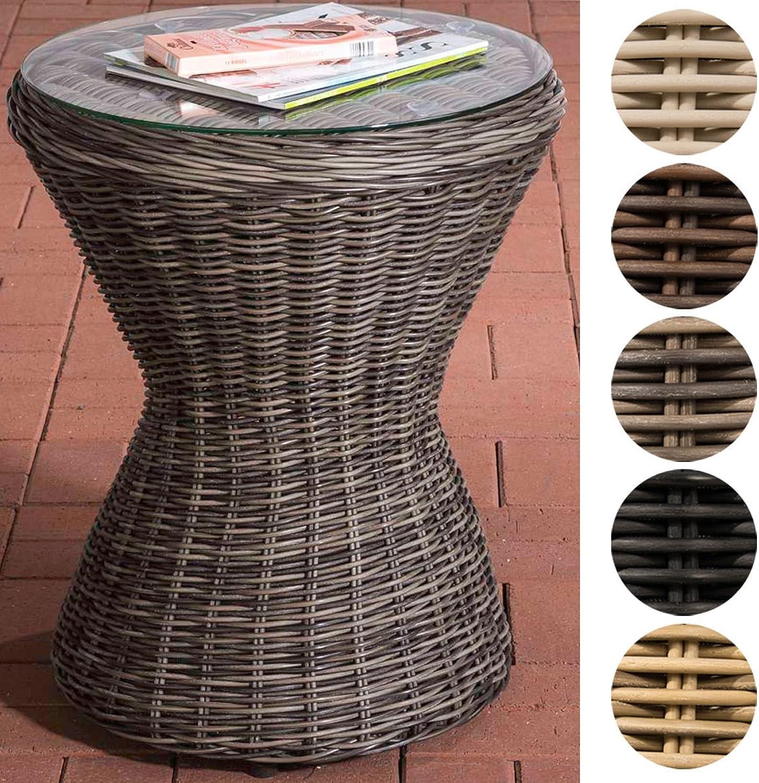 CLP Design Poly-Rattan Beistell-Tisch SANDINO, rund  50 cm, Hhe ca. 60 cm, Sonnenliegen-Beistelltisch, Balkontisch mit Glasplatte aus 5 mm Sicherheitsglas Grau Meliert